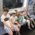 Ethan, Liam, Violet & Saffy on the NYC subway